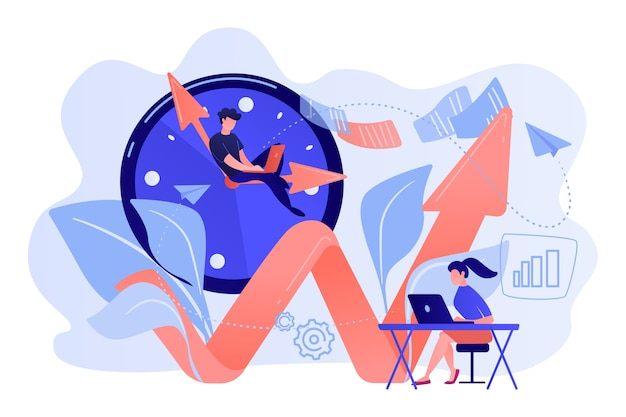 Businessman working on clock hand and businesswoman with laptop. productivity, efficiency of production, qualification concept on white background.