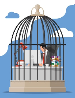 Businessman working on computer in the bird cage. overworked business man in jail. stress at work. bureaucracy, paperwork, deadline and paperwork. vector illustration in flat style