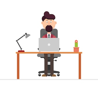 Businessman working at desk  illustration in
