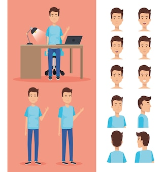 Businessman working in the office with set poses characters