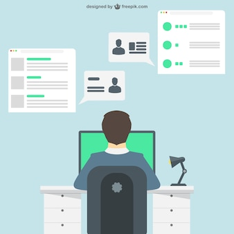 Businessman working in the office Free Vector