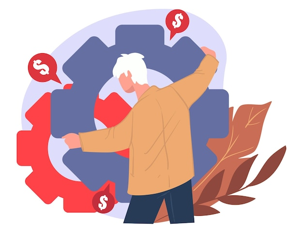 사업에서 이익과 이익의 성장에 노력하는 사업가. 톱니바퀴를 가진 남성 캐릭터, 돈을 버는 것. 프로젝트에 투자하고 은행에 이자를 받습니다. 평면의 메커니즘 및 프로세스 벡터