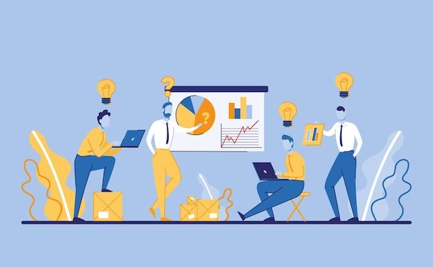 Бизнесмен, работающий над графической концепцией идеи запуска и путь к будущему успеху