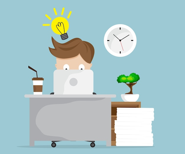 Businessman working with idea and laptop at workdesk cartoon illustration