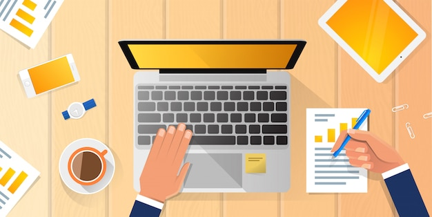 Бизнесмен на рабочем месте рабочий стол руки рабочий ноутбук плоский иллюстрация деловой человек верхний угол над офисом