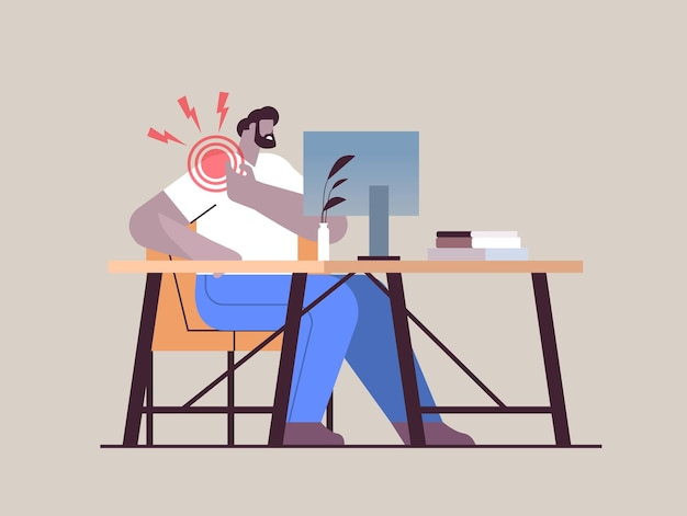 Businessman at workplace suffering from shoulder pain inflammation of muscles concept painful inflamed area highlighted in red color horizontal full length vector illustration