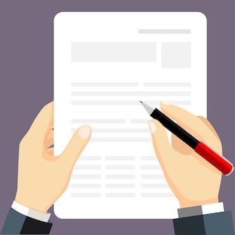 Businessman writing some documets