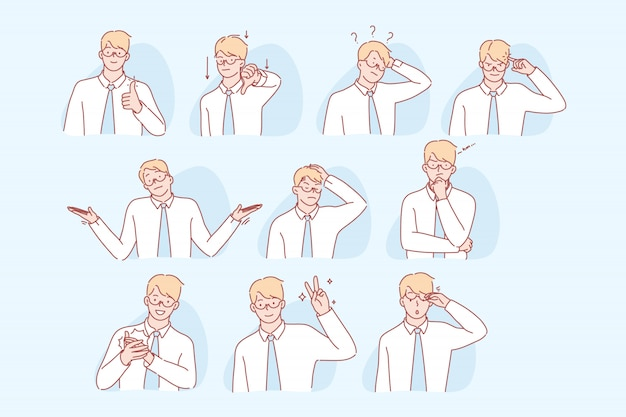 Businessmans gestures and facial expresion set concept