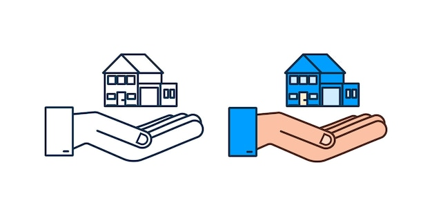Businessmans hand holding a house home rental property real estate concept