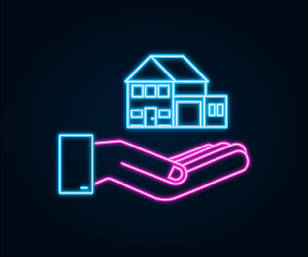 Businessmans hand holding a house neon icon home rental property real estate concept