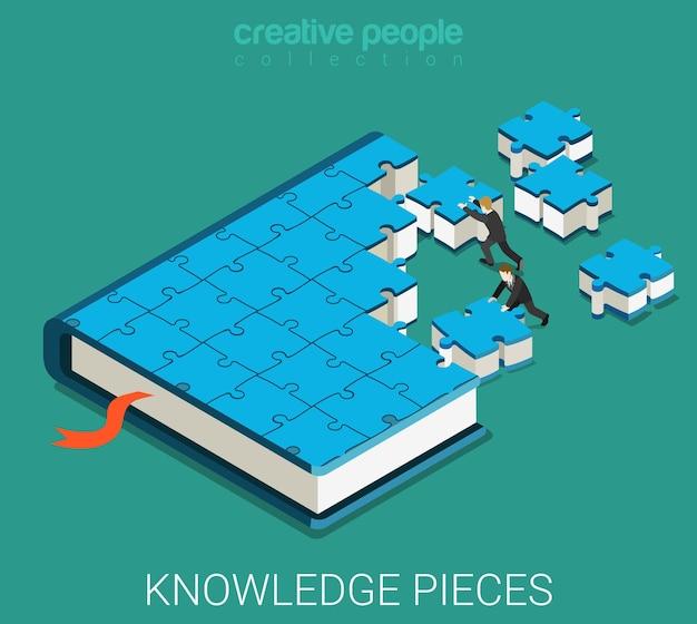 Бизнесмены делают большую книгу из кусочков головоломки.