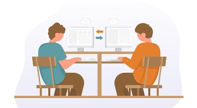 デスクのオフィスチェアに座っているビジネスマンパートナーシップのビジネスチームソリューションのコンセプト