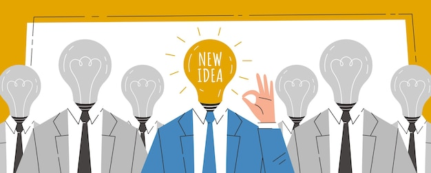 Businessmans with a light bulb instead of head. the birth of a new idea. concept illustration.