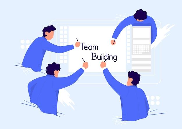 パートナーシップでビジネスソリューションのコンセプトを構築するチームを一緒に書くビジネスマン
