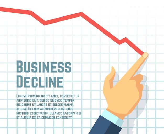 Businessmans手描きの減少グラフ。