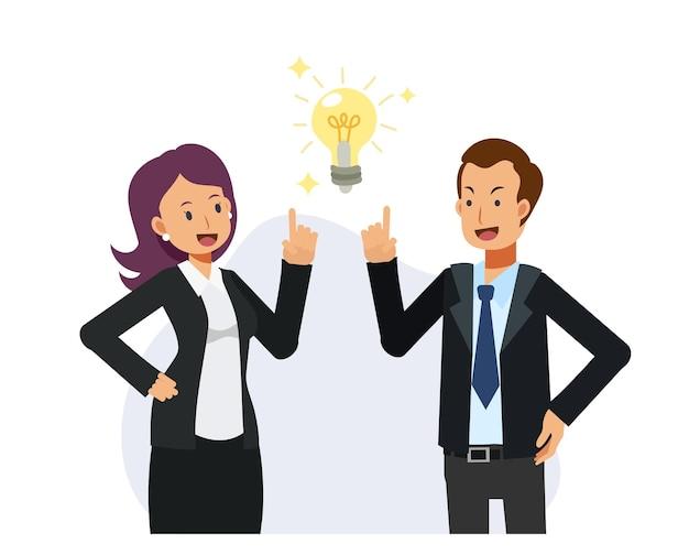 ビジネスマンと女性は仕事のチームワークのアイデアを得ました