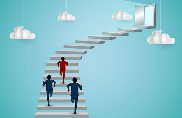 ビジネスマンはドアへの階段を駆け上がる競争です