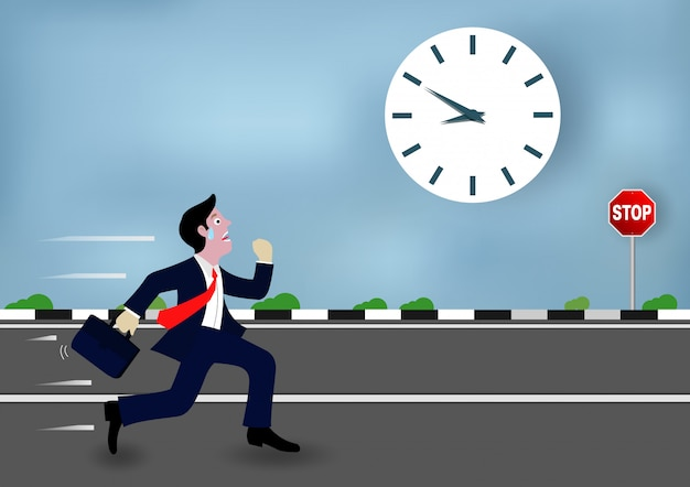 Businessmen are running go to work race against time