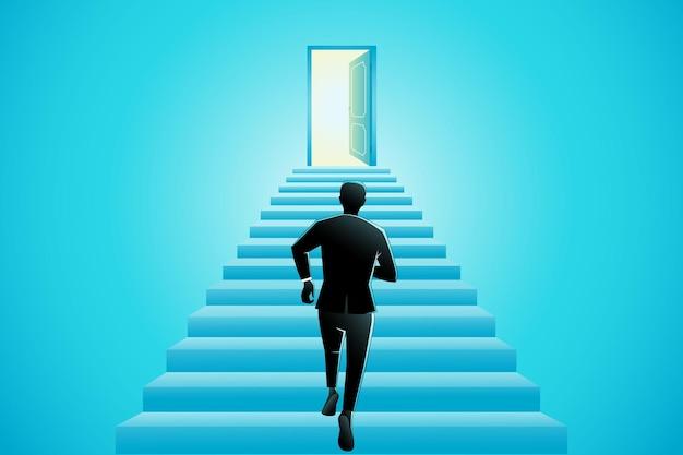 ビジネスマンは開いたドアへの階段を駆け上がっています
