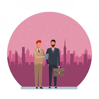 Businessmen avatar cartoon character round illustration