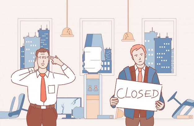 ビジネスマンは破産し、ビジネス漫画の概要図を閉じた。閉じたオフィスで悲しい、怒っている男性。コロナウイルス、ロックダウン、および自己分離の経済的影響。