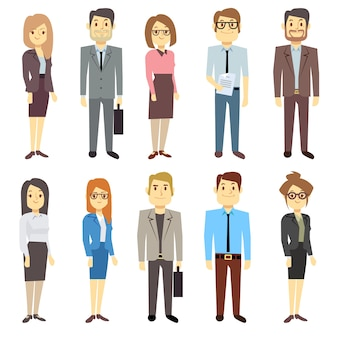Businessmen businesswomen employee vector people characters various business outfits. man and woman,