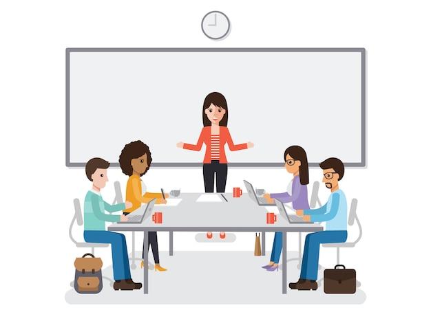Businessmen and businesswomen meeting.