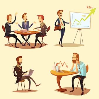 Бизнесмены мультфильм иконки с символами прибыли на желтом фоне