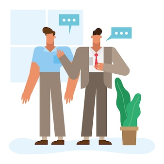 Businessmen cartoons with bubbles design, office business management, design, illustration, image and corporate theme