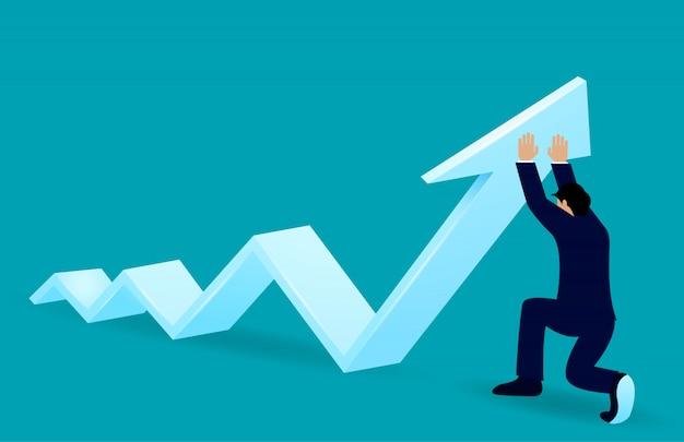 ビジネスマンは、成功を達成するために目標に方向矢印を変更します