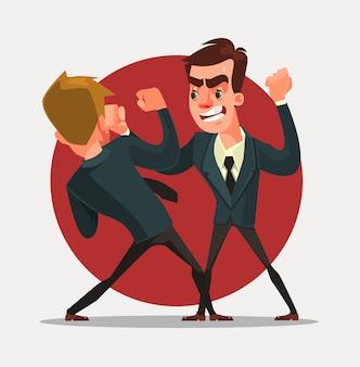 ビジネスマンのキャラクターが戦う。ベクトルフラット漫画イラスト
