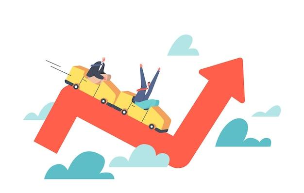 Персонажи-бизнесмены, инвесторы, катающиеся на американских горках на красной диаграмме, падение на неопределенность, волатильный график прибыли со стрелкой вверх и вниз, торговый риск, инвестировать в экономику, паника, мультяшные люди, векторная иллюстрация