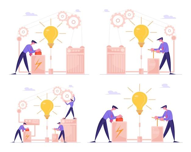 ビジネスマンのキャラクターが巨大な電球プッシュレバーアームを起動