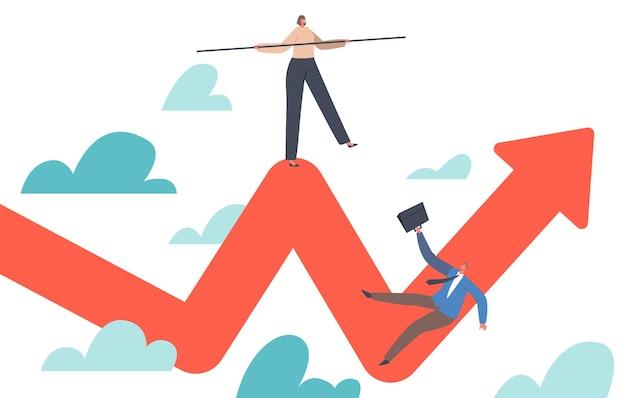 Персонажи-бизнесмены, пытающиеся уравновесить, как канатоходец, и падают с графика прибыли зигзагообразной стрелки, волатильность поглощает инвестиции во время финансового кризиса. мультфильм люди векторные иллюстрации