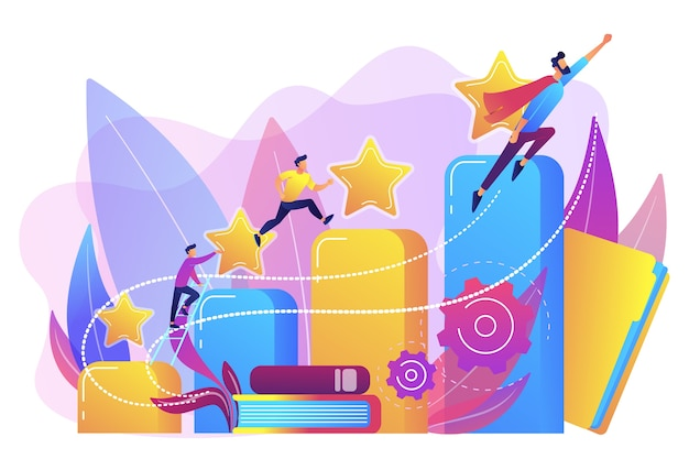 ビジネスマンは成長の列グラフを登ります。キャリアと人格の発達、キャリアビルダー、キャリアプランニングの進捗コンセプト