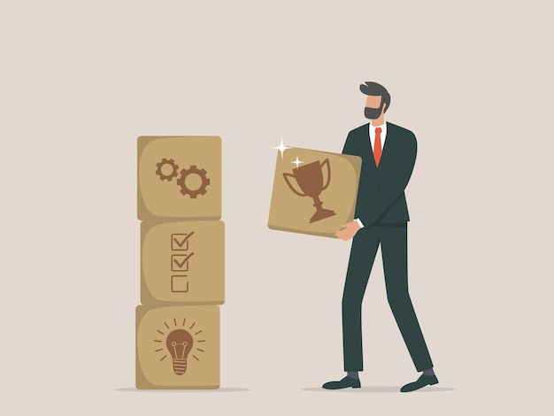 ビジネスマンは成功に向けたステップを考案します
