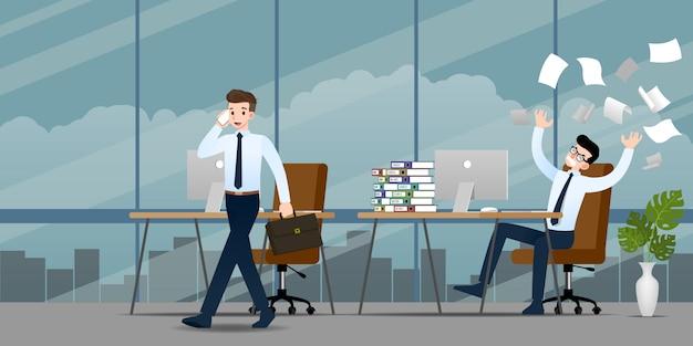 Businessmen in different emotion.