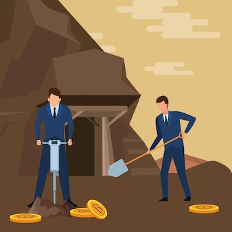 Businessmen digging looking for cryptocurrency