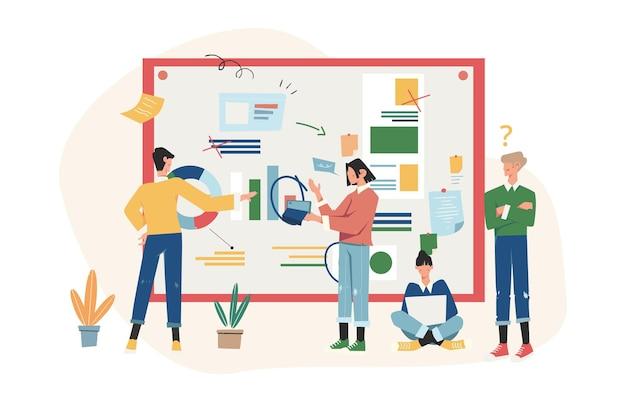 사업가들이 새로운 프로젝트에 대한 소셜 네트워크와 뉴스에 대해 논의합니다.