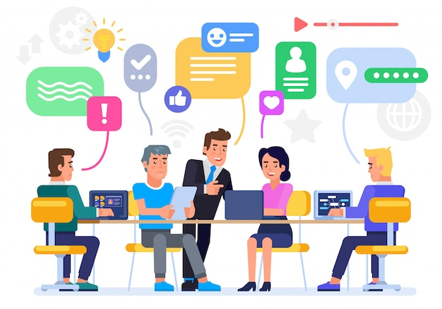 Businessmen discuss social network, news, social networks