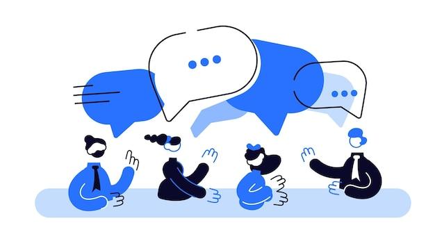 사업가들이 소셜 네트워크에 대해 논의하고