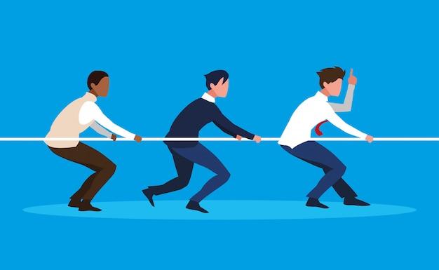 Businessmen elegant pulling rope vector ilustration