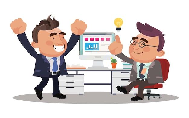 Businessmen get idea illustration.