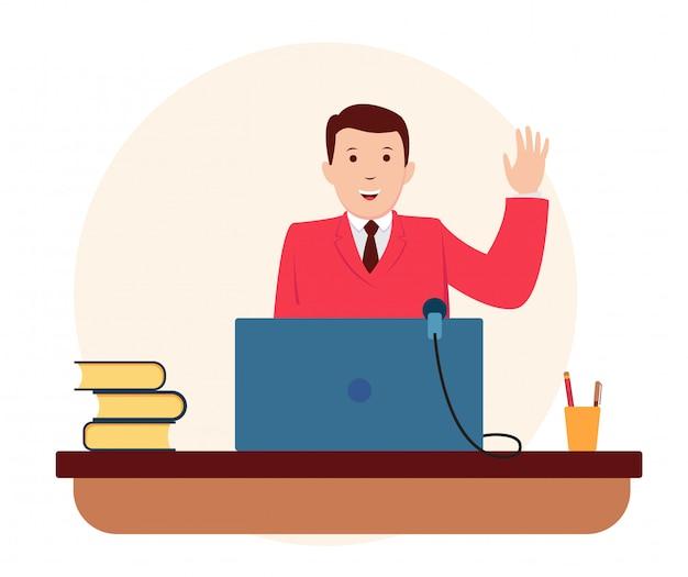ノートパソコンでスピーチをするビジネスマン