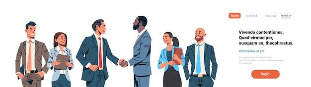 Businessmen handshake agreement banner