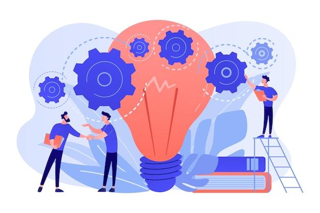 실업가 악수 그리고 기어를 회전하는 큰 전구. 사업 아이디어, 사업 시작 및 개발, 흰색 배경에 사업 계획 개념.