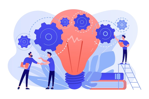 Businessmen handshake and big bulb with rotating gears. business idea, business launcher and development, business plan concept on white background.