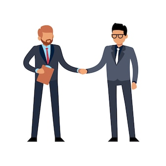 Businessmen handshake flat. two young standing people meeting on conference or contract deal