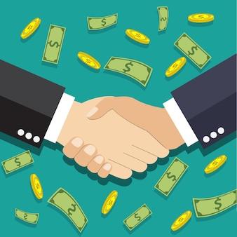 Рукопожатие бизнесменов в плоском дизайне