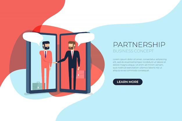 Businessmen handshake on mobile banner.